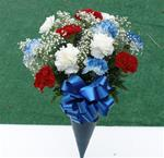 Fresh R/W/B Bouquet of Carnations