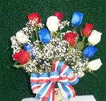 04. Fresh Patriotic Bouquet of Roses
