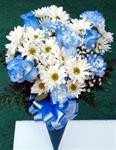 019. Fresh Blue and White Bouquet-w/Carnations and Roses