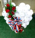018. Broken Heart-w/White Silk Carnations, Red Roses & R/W/B Bow