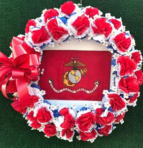 25j. Military Wreath with Flag in Center