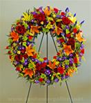 Fresh Memorial Wreath With Mixed Flowers